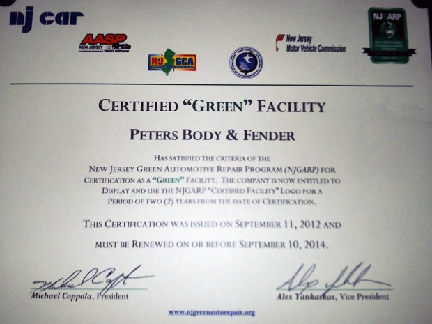 Green Certified NJ Body Shop