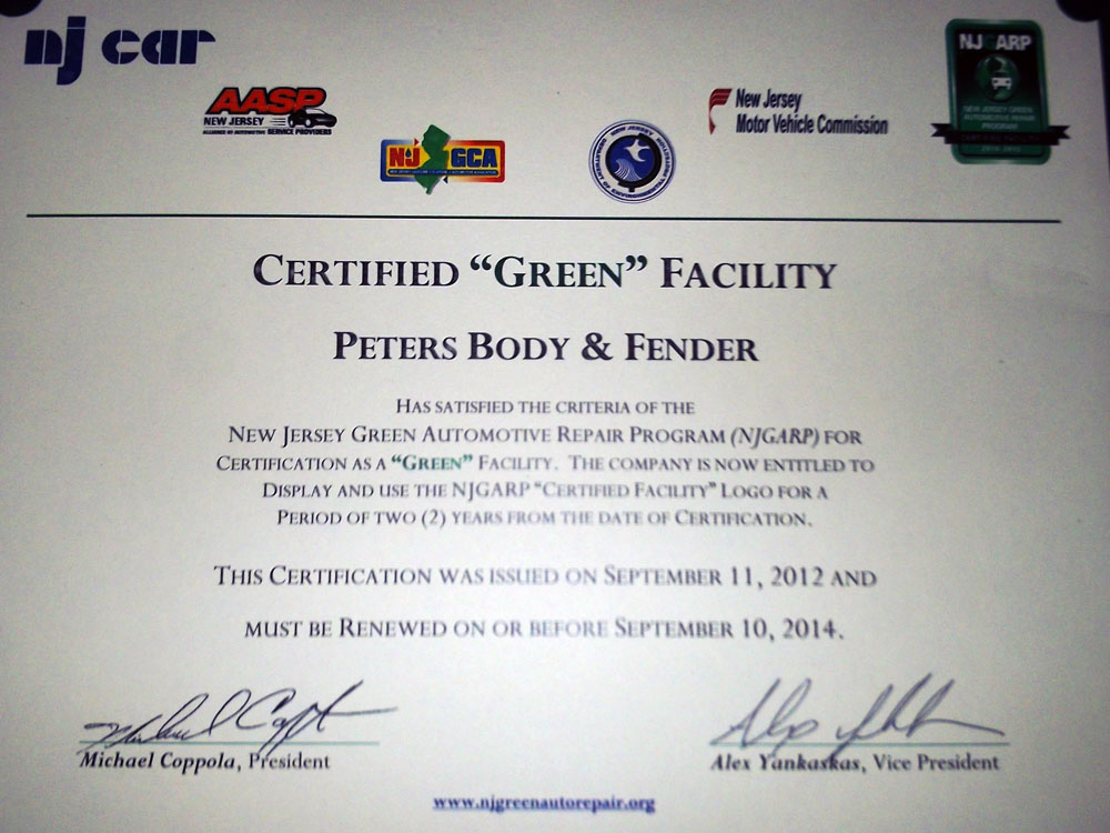 Green Certified Nj Petersbodyandfender